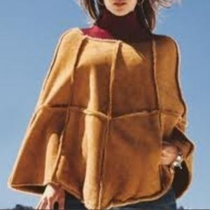 UGG Women's Tan Suede, Fur-Lined Poncho Cape